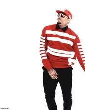 sweater,chris brown,red,white,pattern