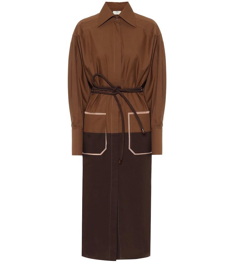 Fendi Silk-twill shirt dress in brown