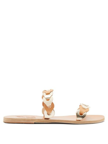 Ancient Greek Sandals - Poulia Links Braided Leather Slides - Womens - Tan Multi
