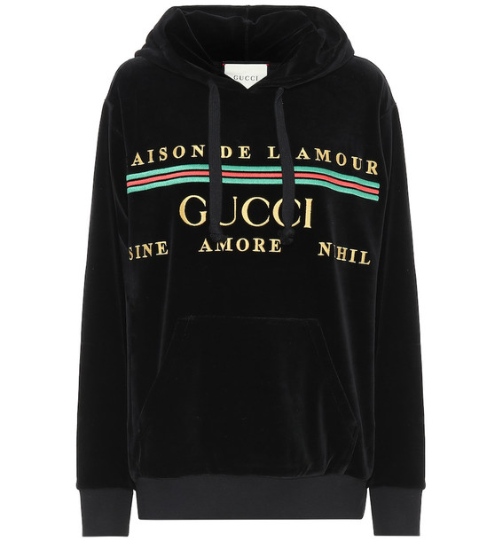 Gucci Logo cotton-blend chenille hoodie in black