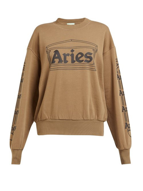 Aries - Logo Print Cotton Sweatshirt - Womens - Green
