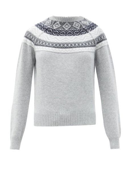 Johnston's Of Elgin - Lucia Fair Isle-jacquard Cashmere Sweater - Womens - Silver Multi