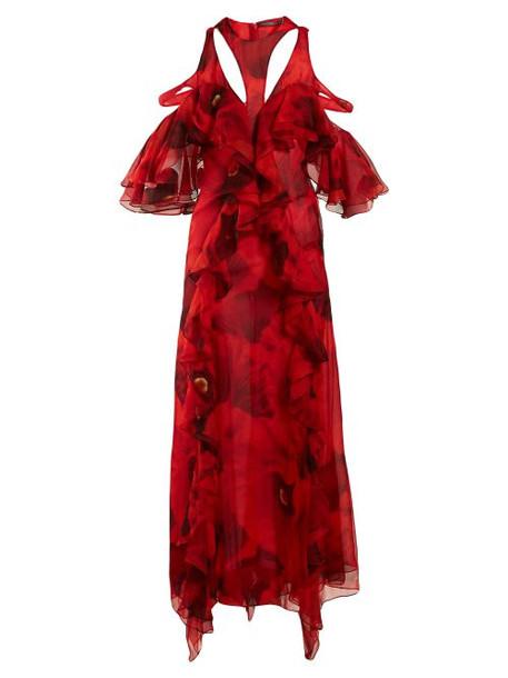 Alexander Mcqueen - Poppy Print Ruffled Gown - Womens - Red Print
