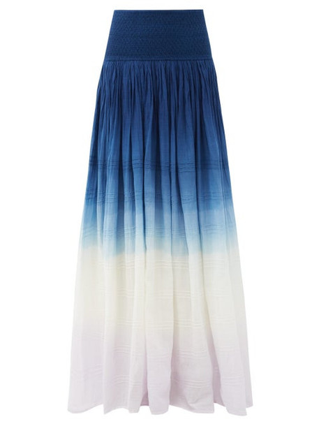 Anaak - Orai Smocked Dip-dyed Cotton Maxi Skirt - Womens - Navy Multi