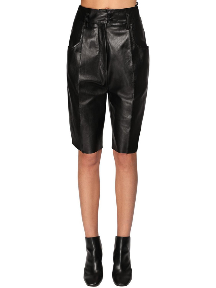 PETAR PETROV Leather Slim Fit Shorts in black