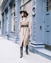dress,midi dress,long sleeve dress,black boots,knee high boots,black belt,white turtleneck top,hat