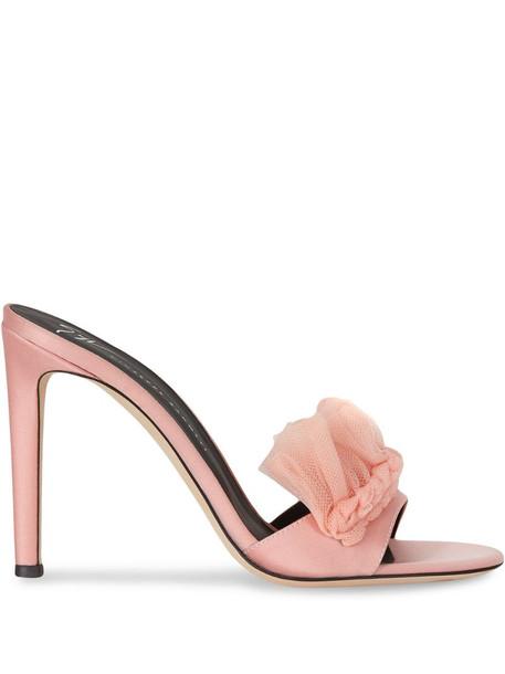 Giuseppe Zanotti Nausica ruffled trim mules in pink