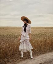 shoes,white boots,isabel marant,white dress,lace dress,hat