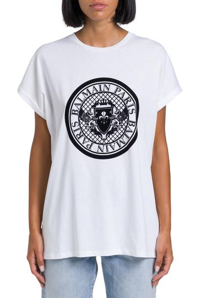 Balmain T-shirt With Floc Logo Print