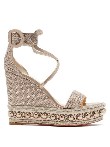 Christian Louboutin - Chocazeppa 120 Leather Wedge Sandals - Womens - Gold
