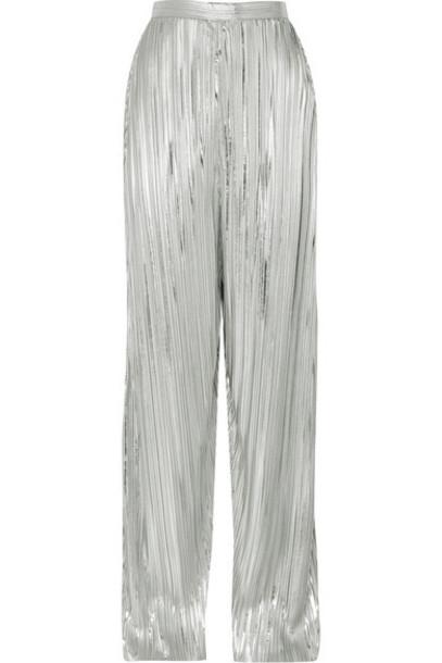 Rodarte - Pleated Lamé Wide-leg Pants - Silver
