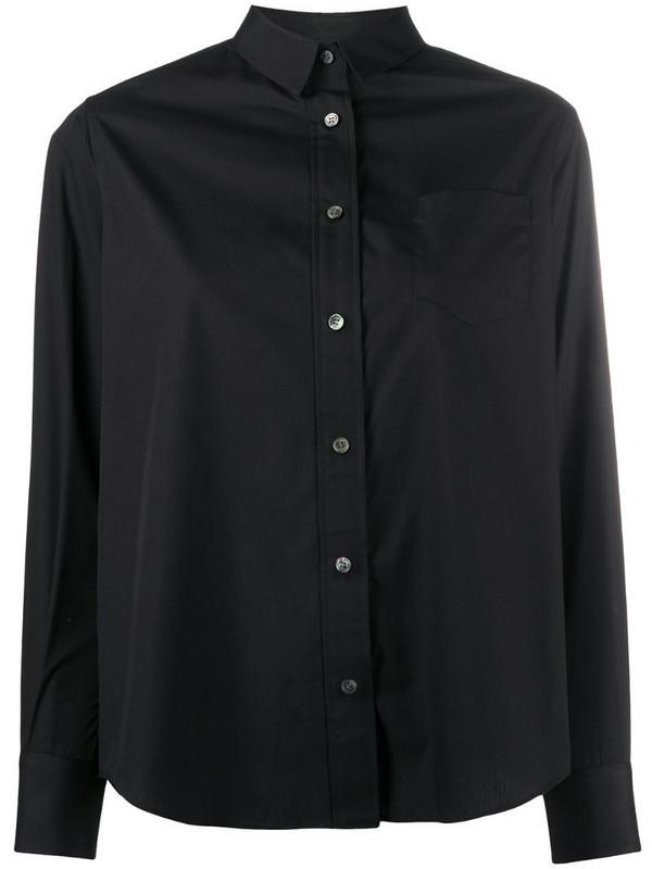 Sacai pleated back panel shirt in black