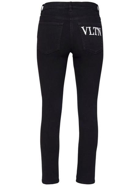 VALENTINO Vltn Embroidery Cotton Denim Jeans in black / white