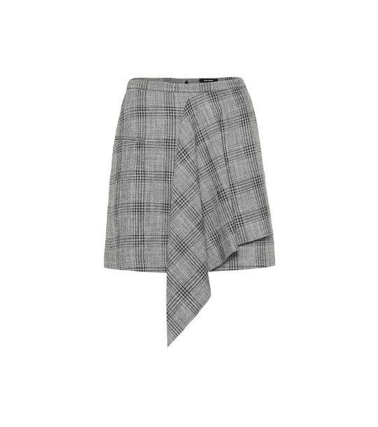 Isabel Marant Doleyli checked cotton and wool skirt in grey