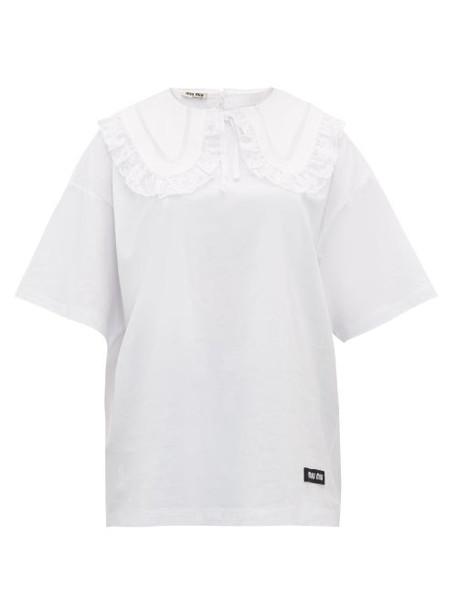 Miu Miu - Lace Trimmed Cotton T Shirt - Womens - White Multi