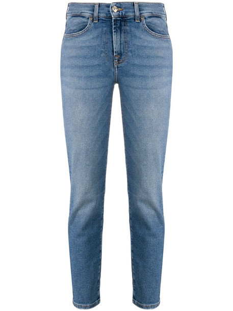 7 For All Mankind Roxanne cropped skinny jeans in blue