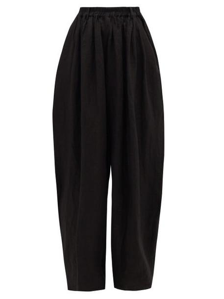 Zanini - Tailored Linen Wide-leg Trousers - Womens - Black