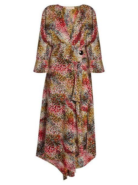 Marni - Mist Print Silk Crepe Wrap Dress - Womens - Red Print