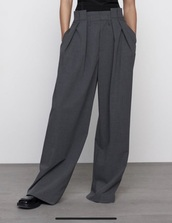 pants,grey,wide-leg pants