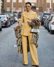 jacket,blazer,double breasted,yellow,wide-leg pants,yellow pants,pleated,faux fur coat,handbag,pumps