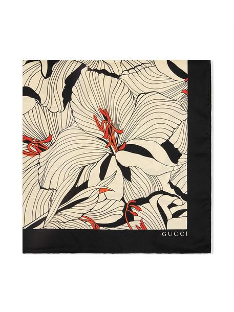 Gucci lily-print silk scarf - White
