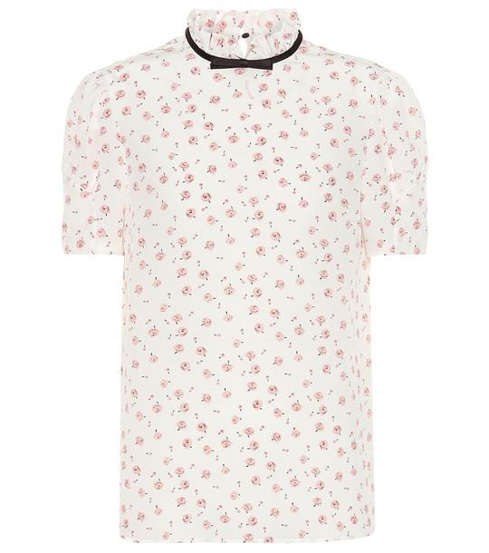 Miu Miu Floral silk top in white