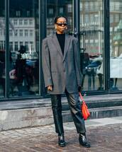 pants,black leather pants,cropped pants,black boots,patent boots,grey blazer,black top,shoulder bag