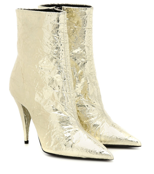 Saint Laurent Kiki 100 metallic ankle boots in gold