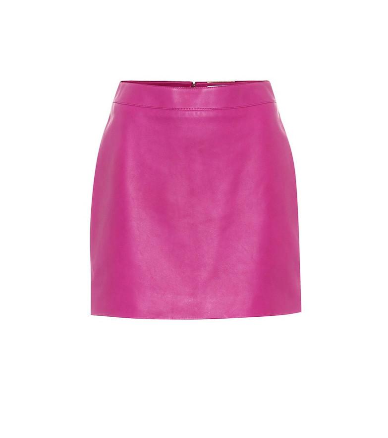 Saint Laurent Leather miniskirt in pink