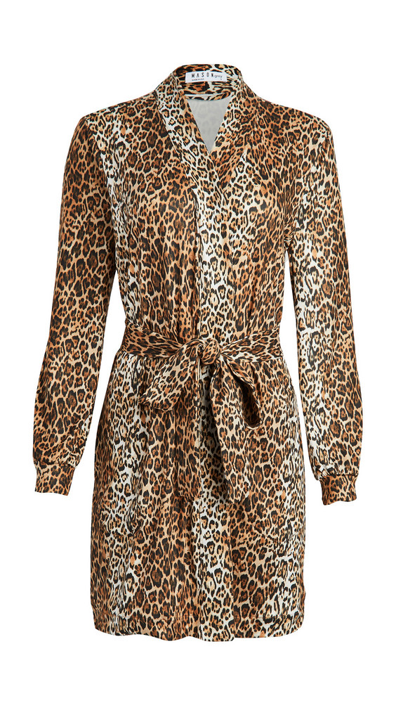 Mason Grey Banded Short Robe in leopard