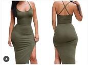 dress,green,short dress,tight-fitting dress,olive green