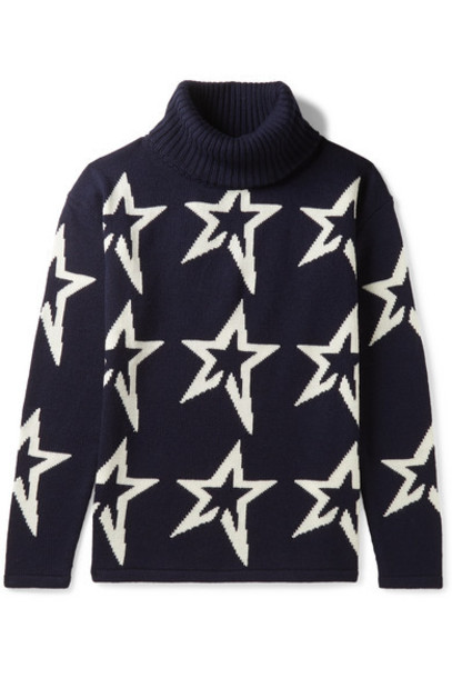 Perfect Moment Kids - Ages 6 - 12 Star Dust Intarsia Merino Wool Turtleneck Sweater in navy
