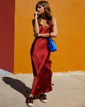 dress,slip dress,maxi dress,red dress,silk dress,red sneakers,blue bag,handbag