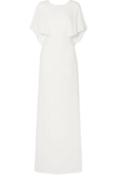 Halston Heritage - Cape-effect Crepe De Chine Gown - Off-white