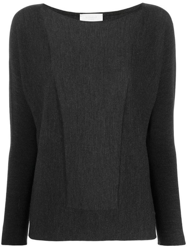 Zanone fine-knit boat-neck knitted top in grey