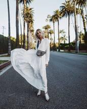 dress,white dress,maxi dress,long sleeve dress,dior bag,cowboy boots