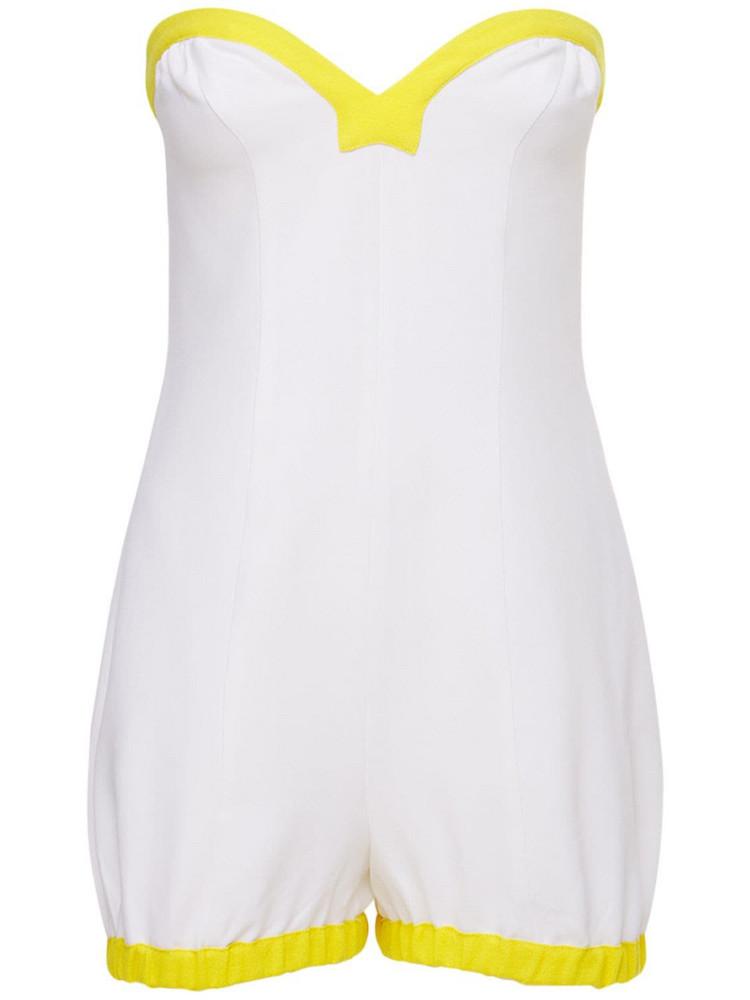 ROWEN ROSE Viscose Sablé Mini Bustier Jumpsuit in white