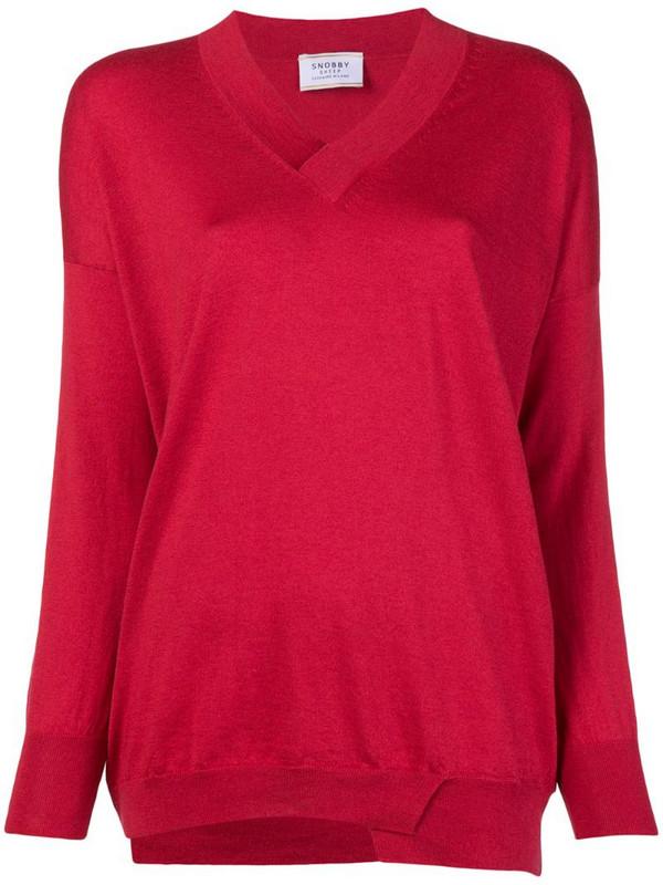 Snobby Sheep V-neck jumper in red