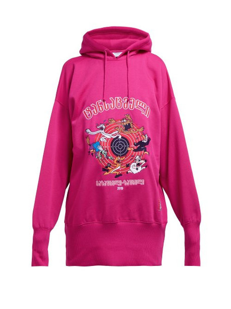 Vetements - Cartoon Technical Jersey Hooded Sweatshirt - Womens - Pink