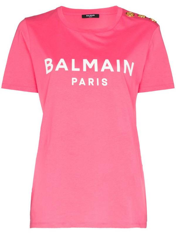 Balmain logo print button T-shirt in pink