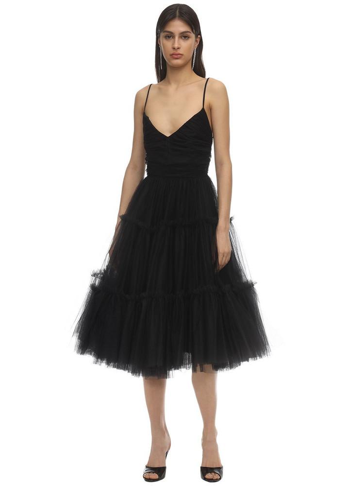 BROGNANO Low Back Tulle Midi Dress in black