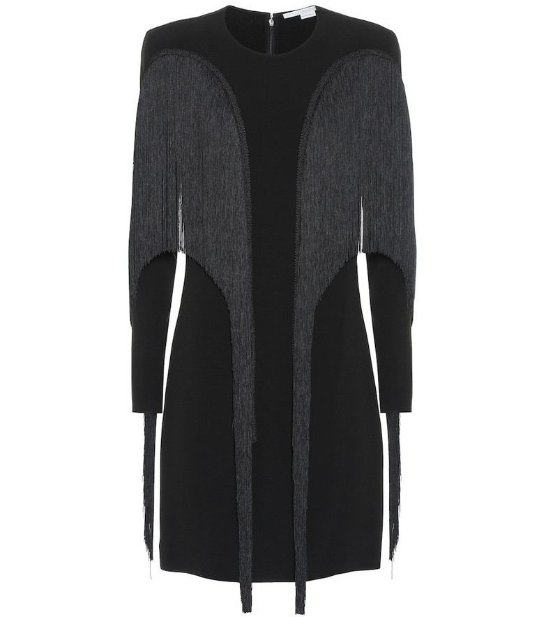 Stella McCartney Fringe-trimmed crêpe minidress in black