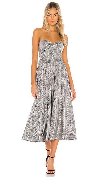 Lovers + Friends Lovers + Friends Tanya Midi Dress in Metallic Silver