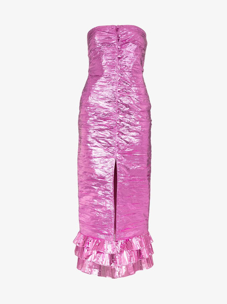 Attico metallic strapless midi-dress