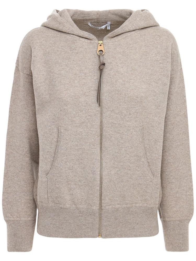AGNONA Zip-up Cashmere Knit Hoodie in beige