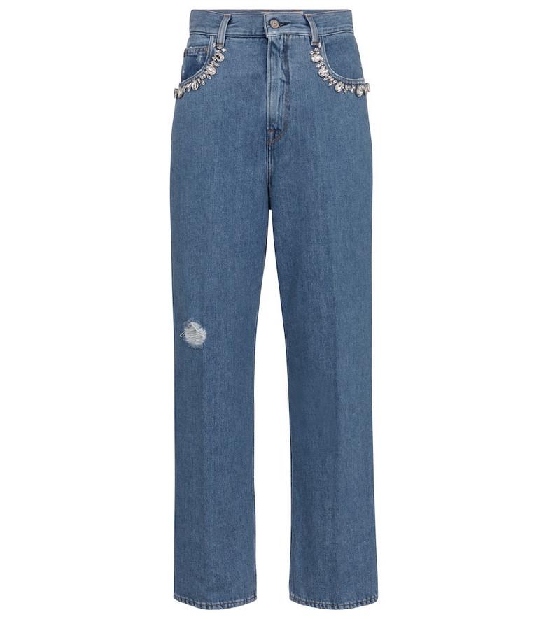 Golden Goose Kim embellished straight jeans in blue