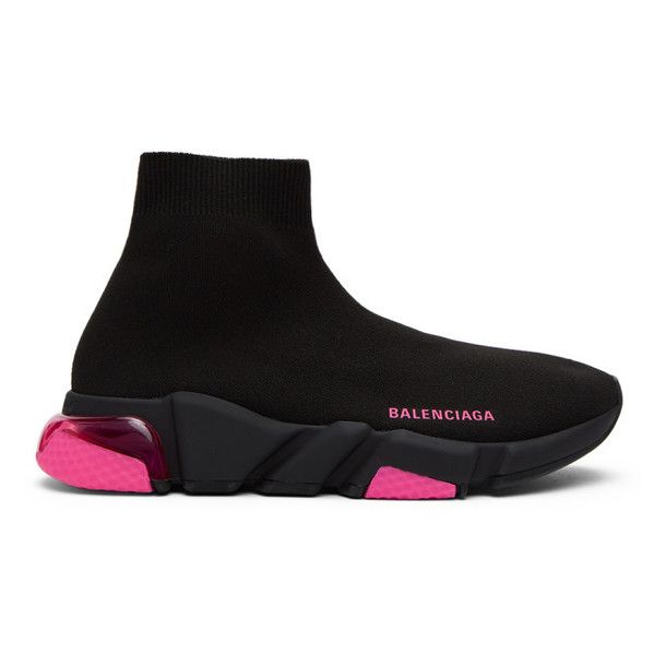 Balenciaga Black and Pink Speed 2.0 Sneakers