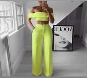 blouse,neon yellow off shoulder crop top