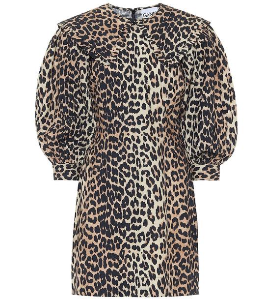 Ganni Leopard-print cotton-poplin dress in beige