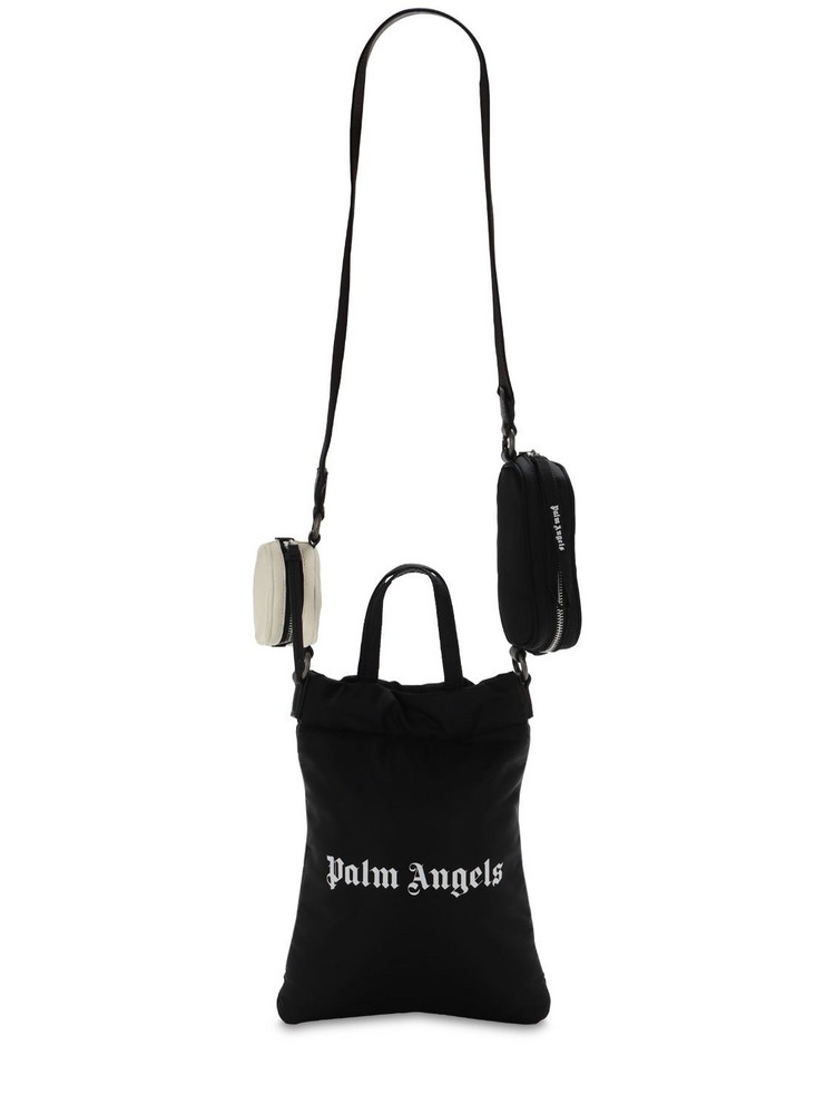 PALM ANGELS Logo Print Nylon Mirror Shopping Bag in black